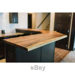 Butcher Block Countertop 4' L x 2'1 D x 1.5 Thick Oiled Acacia with Live Edge