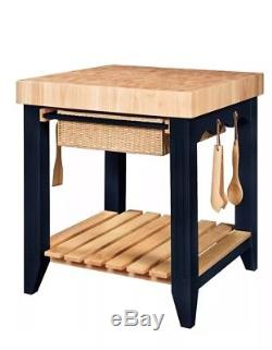 Butcher Block Island Small Kitchen Work Station Prep Table Black With Utensils