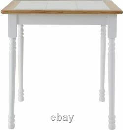 Butcher Block Kitchen Dining Table Square Solid Wood Traditional Farmhouse White