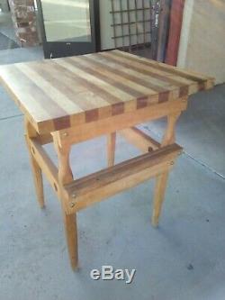 Butcher Block Kitchen Island Table 24x24x30