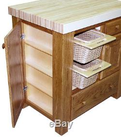 Butcher Block Kitchen Islands Snack Bar Breakfast Solid Wood Storage Bin