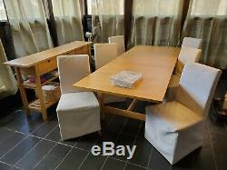 Butcher Block Style Dining Table Set with Chairs and Hutch Ikea Henriksdal Leaf