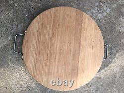 Butcher block cutting board heavy 17 x 2 1/3in with metal handles