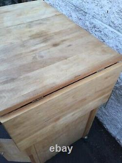 Butcher block table Island With Drop Leafs One Drawer Cabinet