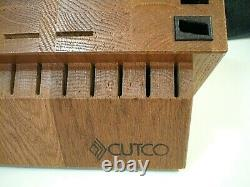 CUTCO Signature 24 Slots Holes SOLID OAK WOOD Knife Storage BUTCHER BLOCK HOLDER