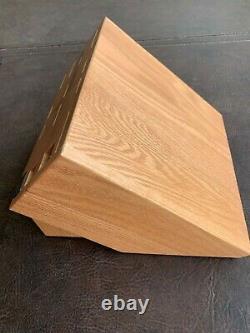 CUTCO Signature Set 24 Slot Oak Solid Wood Storage Butcher Knife Block USA Made
