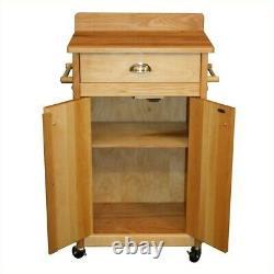 Catskill Craftsmen 24 Wooden Butcher Block Kitchen Cart in Olied Brown