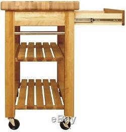Catskill Craftsmen Kitchen Cart Storage Butcher-Block Tabletop Natural Wood