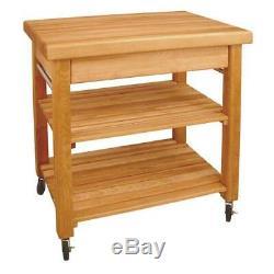 Catskill Craftsmen Kitchen Cart Storage Thick Butcher Block Top Casters Wood
