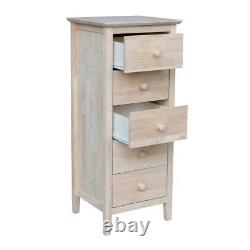Chest 5-Drawer 40 in. H x 17 in. W Unfinished Solid Wood with Butcher Block Top