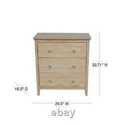 Chest of Drawer 3-Drawer Butcher Block Top Unfinished Wood Classic Style