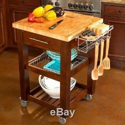 Chris & Chris Chef Series Kitchen Cart Island, Brown with Butcher Block