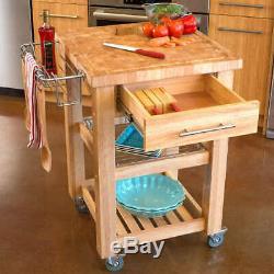 Chris & Chris Chef Series Kitchen Cart Island, Cream with Butcher Block