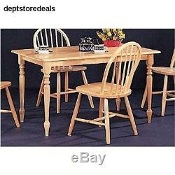Coaster Rectangular Butcher Block Farm Dining Table, Solid Natural Wood Finish