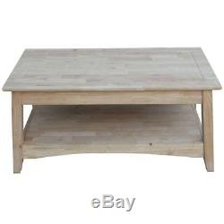 Coffee Table Rectangle Multi-Colored Unfinished Wood with Butcher Block Top