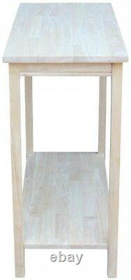 Console Table 29.5 in. H Rectangle Solid Wood Unfinished with Butcher Block Top