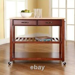 Crosley 2 Drawer Natural Wood Top Kitchen Cart in Cherry