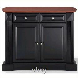 Crosley Coventry Wood Top Drop Leaf Kitchen Island in Black