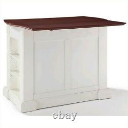 Crosley Coventry Wood Top Drop Leaf Kitchen Island in White