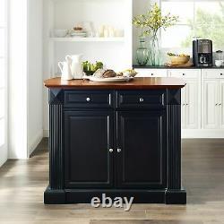 Crosley Furniture Coventry Black Drop Leaf Breakfast Bar Top Black