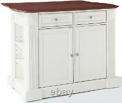 Crosley Furniture Drop Leaf Kitchen Island or Breakfast Bar in White
