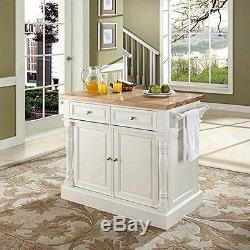 Crosley Furniture KF30006WH Butcher Block Top Kitchen Island in White Finish