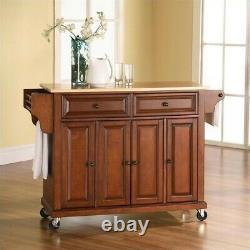 Crosley Natural Wood Top Kitchen Cart in Cherry