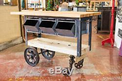 Custom Build Butcher Block Top, KITCHEN ISLAND RR Pallet, Factory Cart Wheels