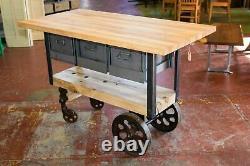 Custom Maple Butcher Block, Kitchen Idland, RR Pallet, Factory Cart Wheels