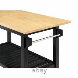 Designs2Go Three-Tier Butcher Block Kitchen Prep Island with Drawer- Black Wood