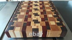 End Grain Cutting Board, Butcher Block Style, made with hardwoods, food safe fin
