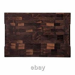 End Grain Cutting Board Large Wood Butcher Block for Kitchen Walnut Color