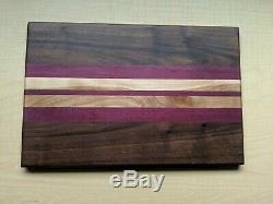 Exotic Wooden Cutting Board Black Walnut, Purple Heart, Birch Hard Wood