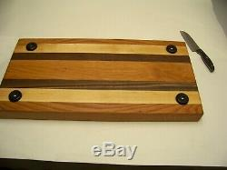 Extra large multi-wood edge grain butcher block 24 x 12 x 2 thick with pads