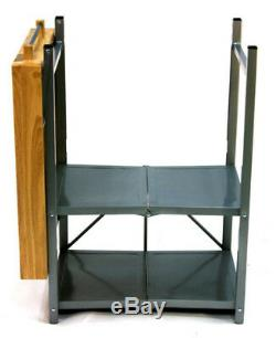 Folding Kitchen Cart Portable Island Small Butcher Block 3 Shelf Utility Gadget