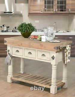 French Country Farmhouse Butcher Block Console Distressed Chalk White & Natural