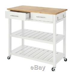 Glenville White Double Kitchen Cart with Butcher Block Top Wood Rolling Storage