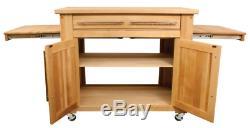 Hardwood Kitchen Island Pull Out Butcher Block Leaves Adjustable Cabinet Shelf