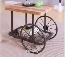 Industrial Wood Metal End Table Wheels Cart Solid Country Kitchen Butcher Block