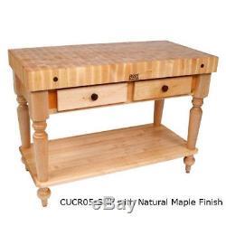 John Boos CUCR05-SHF Cucina Rustica Butcher Block Work Table with Wood Shelf
