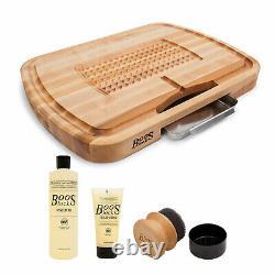 John Boos Maple Wood 24 Inch Ultimate Carving Board & 3 Piece Maintenance Set