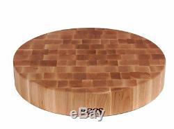 John Boos Maple Wood End Grain Round Butcher Block Cutting Board, 18 Inches x 3