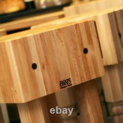 John Boos PCA2 Maple Wood End Grain Solid Butcher Block with Side Knife Slot