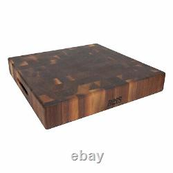 John Boos Walnut Wood Edge Grain Reversible Chopping Block, 18 x 18 x 3 Inches