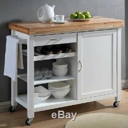 Kitchen Cart Butcher Block Top White Full Framed Built In Wine Rack Towel Bar