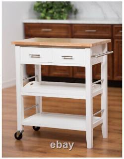 Kitchen Cart Drawers Storage Island 3-Tier Shelves Rolling Butcher Block Top