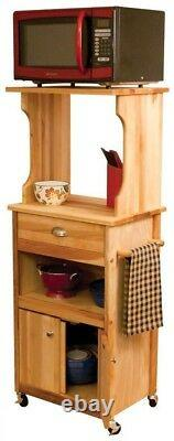 Kitchen Cart Farmhouse Style in Natural Wood With Butcher Block Top & Hutch