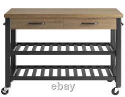 Kitchen Cart Island Table Butcher Block TV Stand Mobile Storage Wine Rack Modern