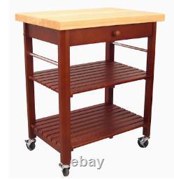 Kitchen Cart Red Wood Base Rubberwood Top Dining Furniture Drawer Slatted Shelve