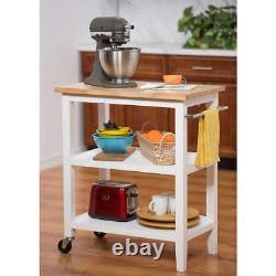 Kitchen Cart Storage Shelves Utility Rack 3-Tier Rolling Butcher Block Top Wood